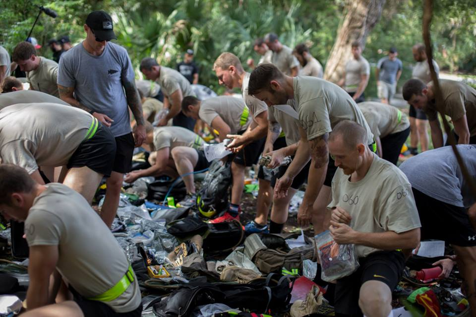 This doesn't have anything to do with today's workout.  This is a moment from Goruck Selection where they had us take everything out of our bags and put it in a giant pile.  THey took all our food and made sure we didnt have any prohibited items.  We had :30 seconds to get ready.  I am just over the Cadre's left shoulder.  This part of the event was not ideal for me or many others.