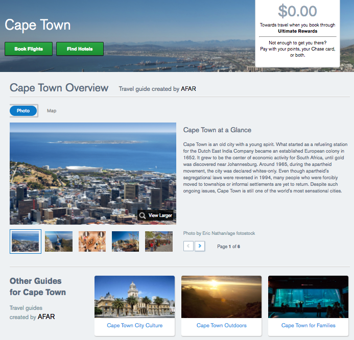 Guide to Cape Town,  Chase Ultimate Rewards Travel