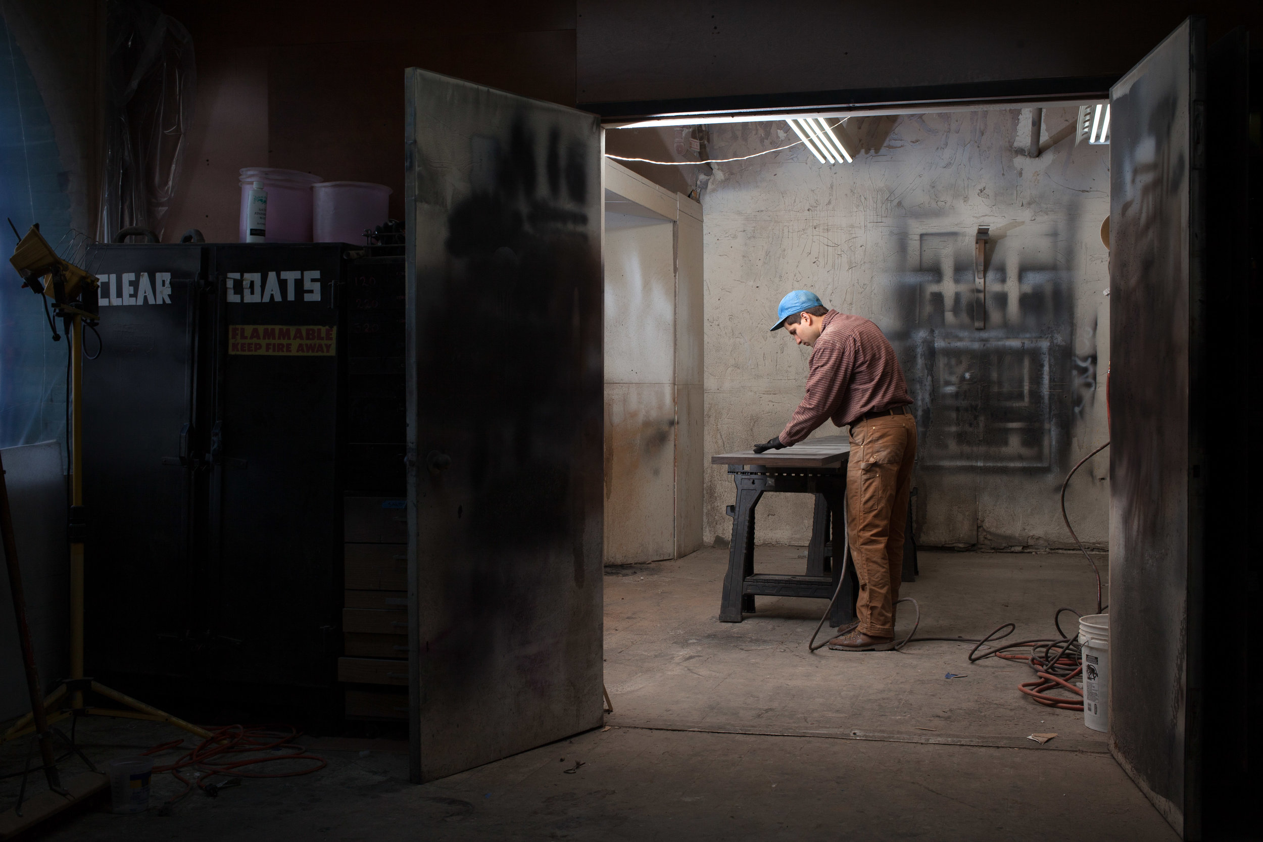 Peter making a piece of furniture in Brooklyn, NY