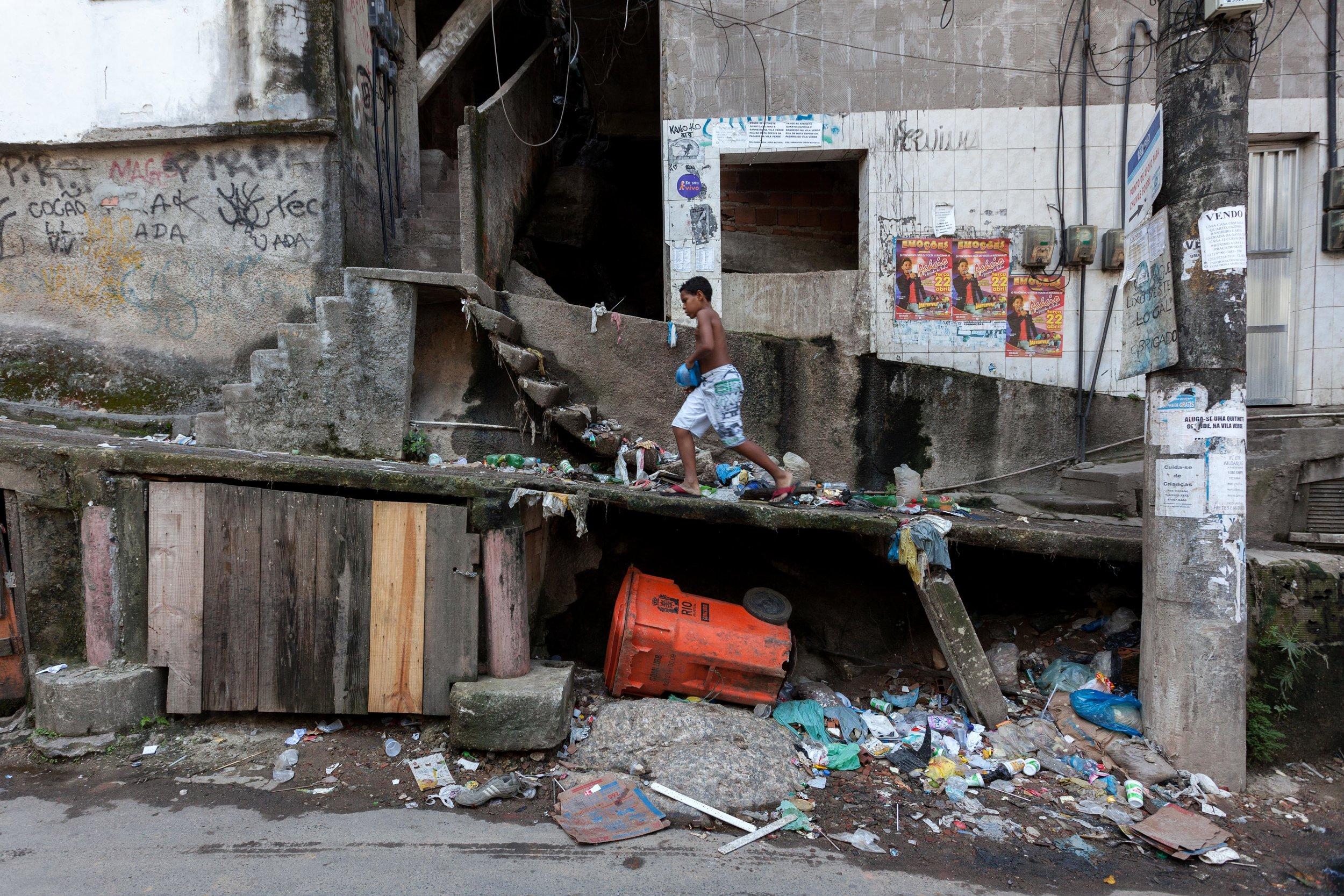 Trash in the streets of Rocinha slum in Rio de Janeiro, Brazil