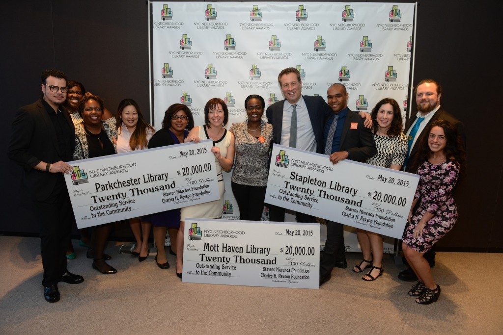 Parkchester, Stapleton, and Mott Haven Libraries accept their awards