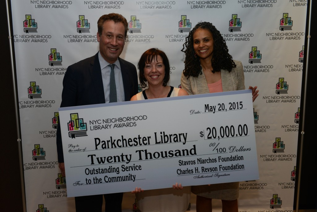 L to R: NYPL President Tony Marx, Parkchester Library Manager Wendy Archer, and Library Awards Judge Maya Wiley