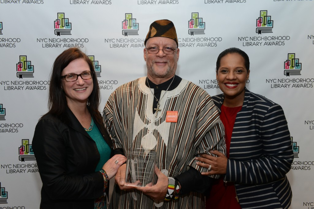 L to R: QL Interim President Bridget Quinn-Carey, Langston Hughes Library Manager Andrew Jackson, and Councilmember Julissa Ferreras