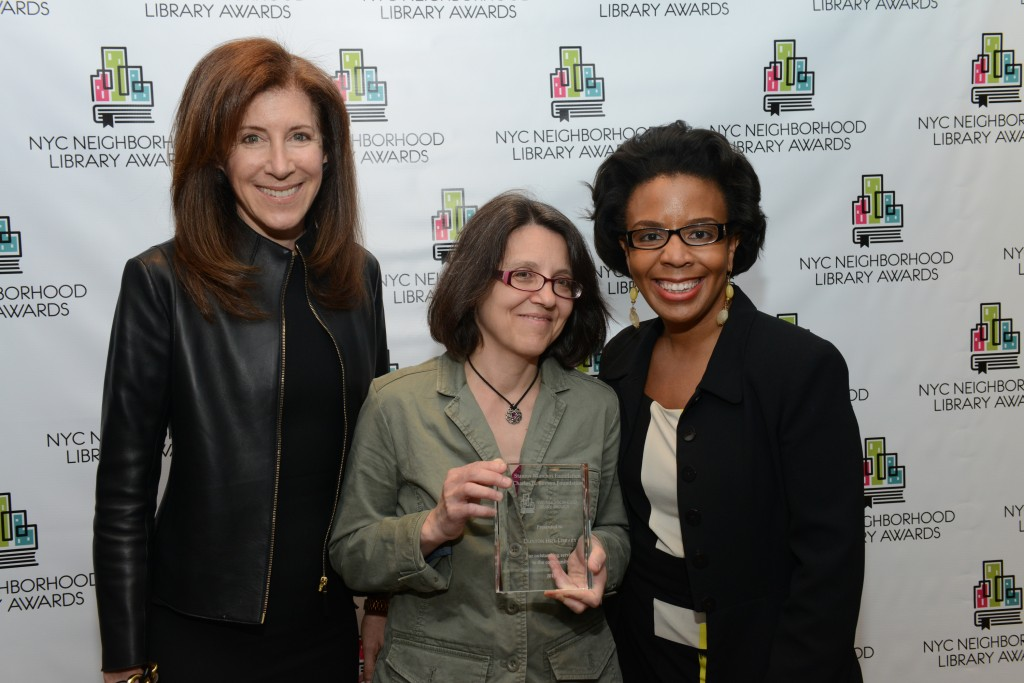 L to R: BPL President Linda Johnson, Clinton Hill Library Manager Tracey Mantrone, and Councilmember Laurie Cumbo