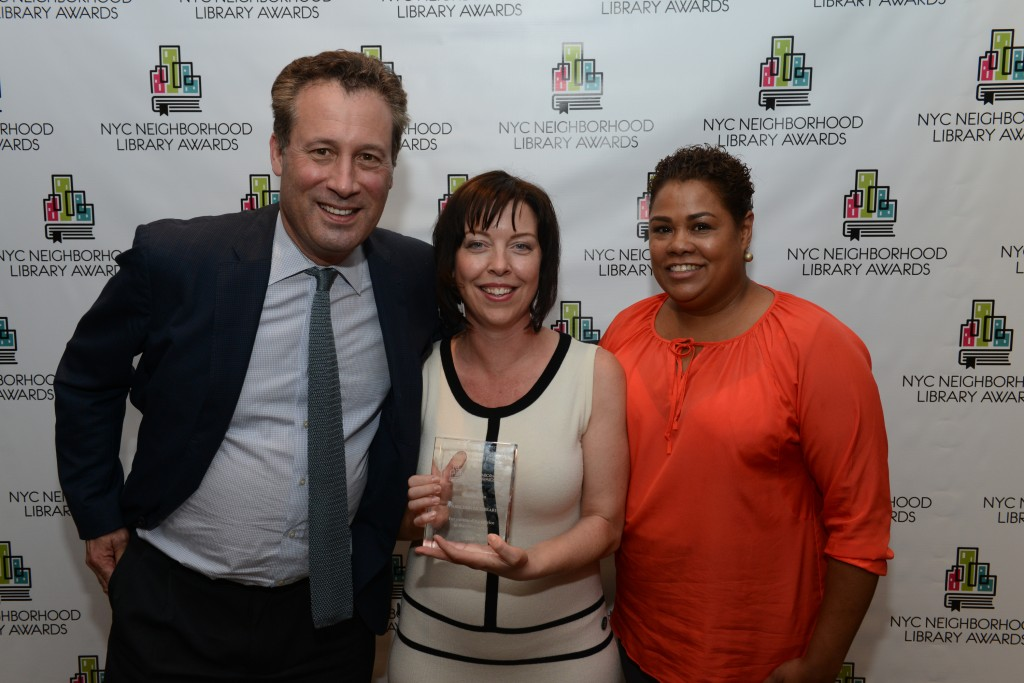 L to R: NYPL President Tony Marx, Parkchester Library Manager Wendy Archer, and Councilmember Anabel Palma
