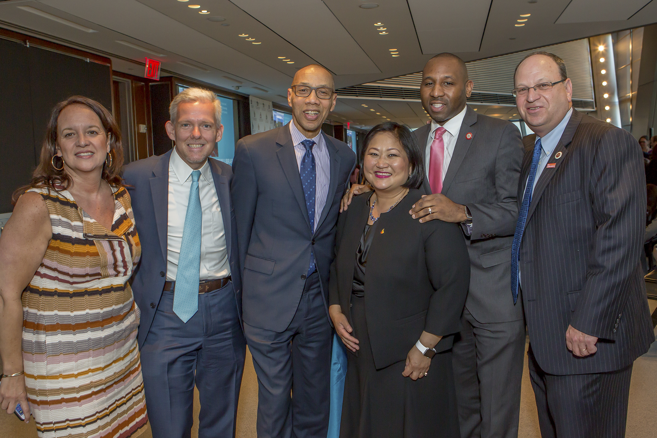 Haeda Mihaltses, Queens Library Trustee; Council Member Jimmy Van Bramer; Queens Library President Dennis Walcott; Eve Cho Guillergan, Queens Library Trustee; Council Member Donovan Richards; and Council Member Barry Grodenchik