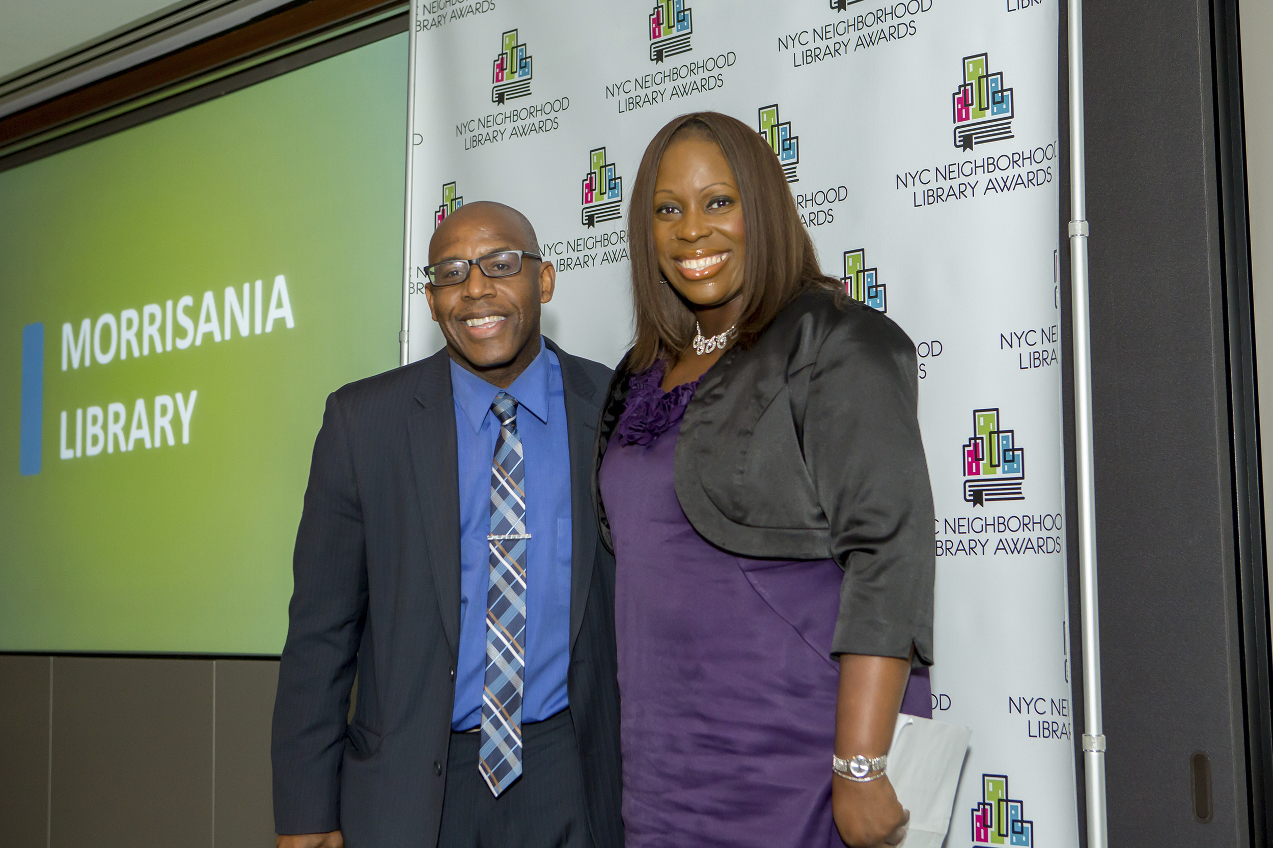 Council Member Vanessa Gibson and Colbert Nembhard, Manager of the Morrisania Library