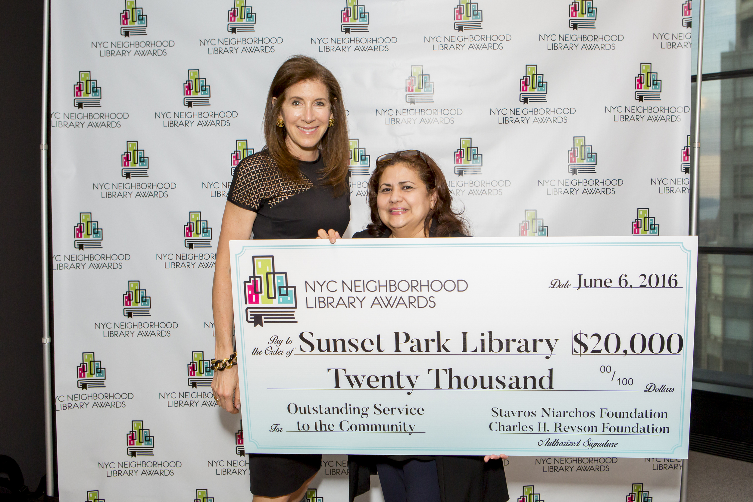 Linda Johnson, President & CEO of the Brooklyn Public Library and Roxana Benavides, Manager of the Sunset Park Library