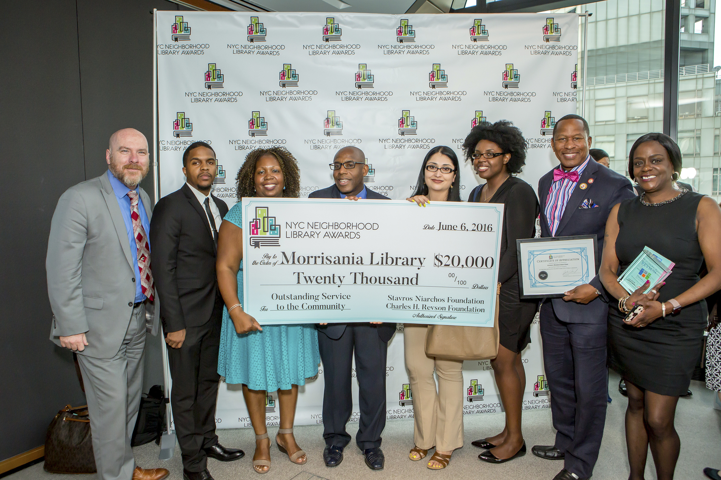 Staff of the Morrisania Library and Council Member Andy King
