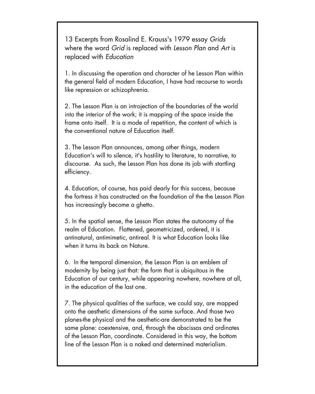 Thirteen Ways of Looking at a Lesson Plan — JASON WRIGHT