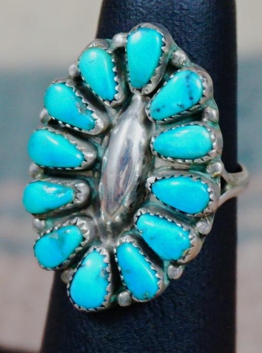 Turquoise Cufflinks Zuni Artisan Signed MFC Maryann/&Felix Chavez Sterling Oval Stones Sunray Symbols Vintage Southwest Classic Statement