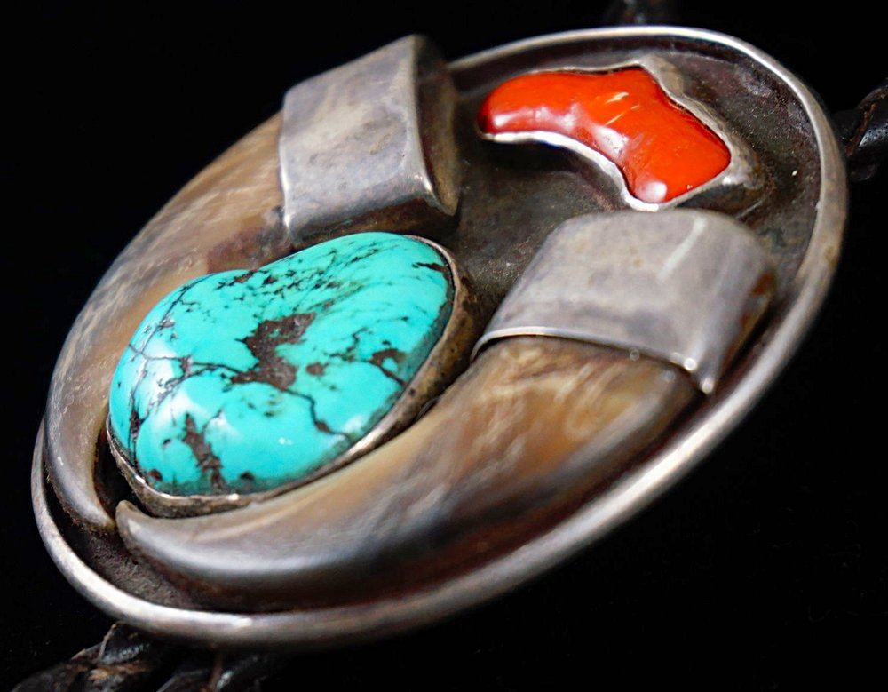 Vintage Navajo Turquoise /& Red Branch Coral Bolo Tie
