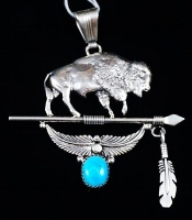 Item # 726M- Lg Solid Navajo Cast Buffalo Turquoise Decorated Pendant by RUNNING BEAR
