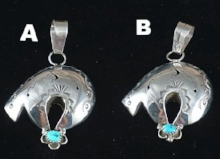 Item #845A- Navajo Turquoise Silver Hollow Spirit Bear w/Kokopelli Lightning Bolts Pendant
