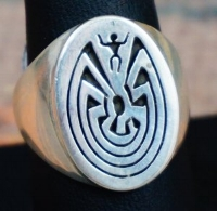 "Item # 622W-Navajo ""Man in the Maze"" Silver Overlay Cast Ring"