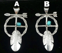 Item #847K- XLG Navajo Turquoise Silver Medicine Wheel/Arrow/Feather Pendant by Ben Begaye