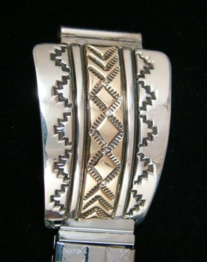 navajo-silver-14K-gold-overlay-decorated-watchband-B-Morgan-823E.jpg