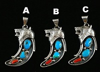 Item #848B- Navajo Double Turquoise Coral Silver Cast Bear Claw Shape Pendant by Bobby Platero