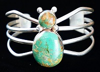 Item # 635M-Lg Navajo Turquoise Spider Bracelet by E.Gruber