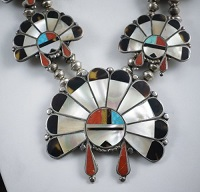 Item # 564R- Lg Vintage 50's-60's Zuni Multi Stone Inlay Sunface Chief Squashblossom Necklace