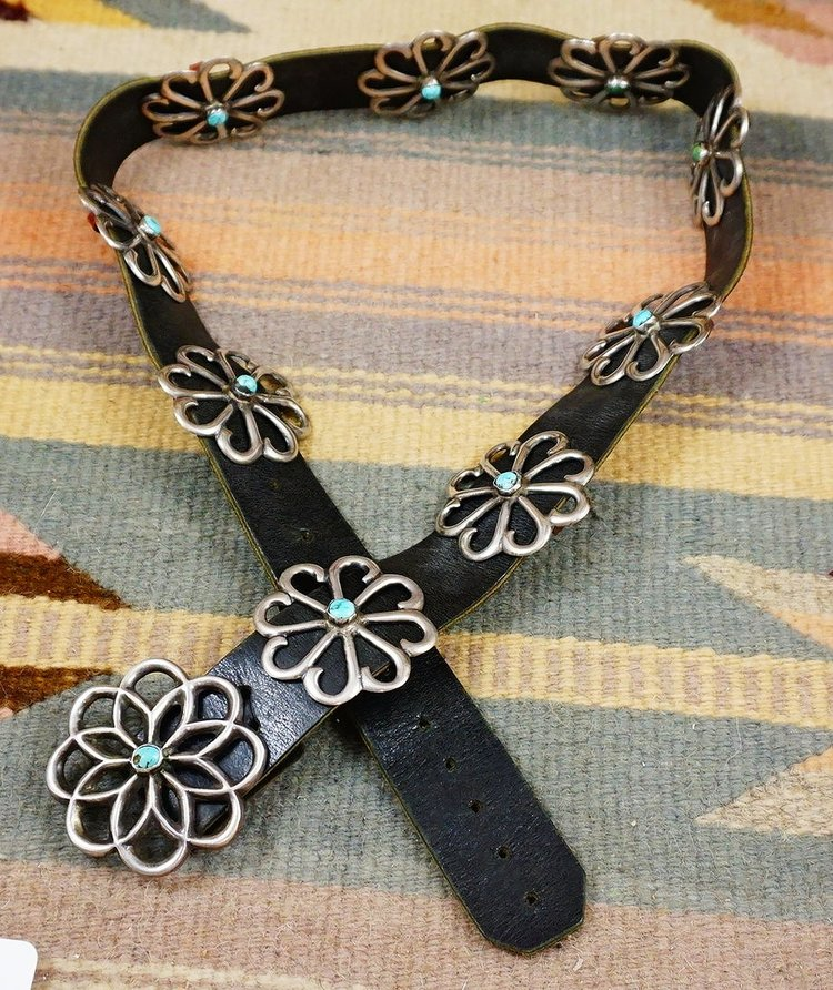 Item 894B Vintage Navajo Turquoise Sandcast Flowers Concho Belt Native American Silver Belts EAGLE ROCK TRADING POST