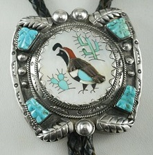 Item #860H- Vintage 50's - 60's Zuni Multi Stone Quail Cactus Inlay Decorative Bolo Tie by L. Lonjose