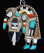 Item # 536B- Lg Zuni Multi Stone Inlay Rainbow Man Pin/Pendant by H.Cellicion