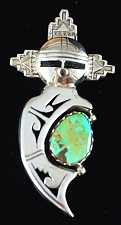 Item #836X- Navajo Turquoise Water Maiden Kachina Pin/Pendant by N.Morgan
