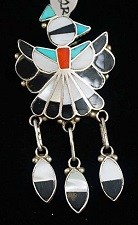 Item # 522R- Lg Zuni Multi Stone Inlay Peyote Bird w/Feathers Pin/Pendant