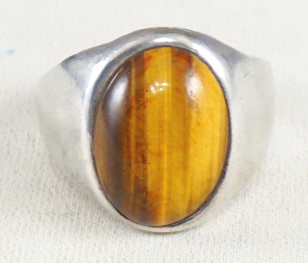 Sterling Silver Ring 925 Sterling Silver Unique Vintage Gold Plated Tiger Eye Stone Men\u2019s Ring