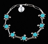 Item # 824H - Zuni 7pc Turquoise Turtles Link Bracelet by D.Waikinawa