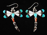 Item # 689H-Lg Zuni Multi Stone Inlay Dragonfly Earrings