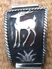 Item # 568K- Men's Navajo Eagle & Deer Silver Overlay Watchband