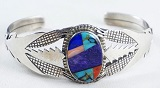 Item #876M- Navajo Multi Stone Inlay Silver Corn Decorated Bracelet by Robert Vandover