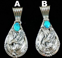 Item #847X- Navajo Turquoise Silver Eagle Leaves Teardrop Pendant by Henry Attakai