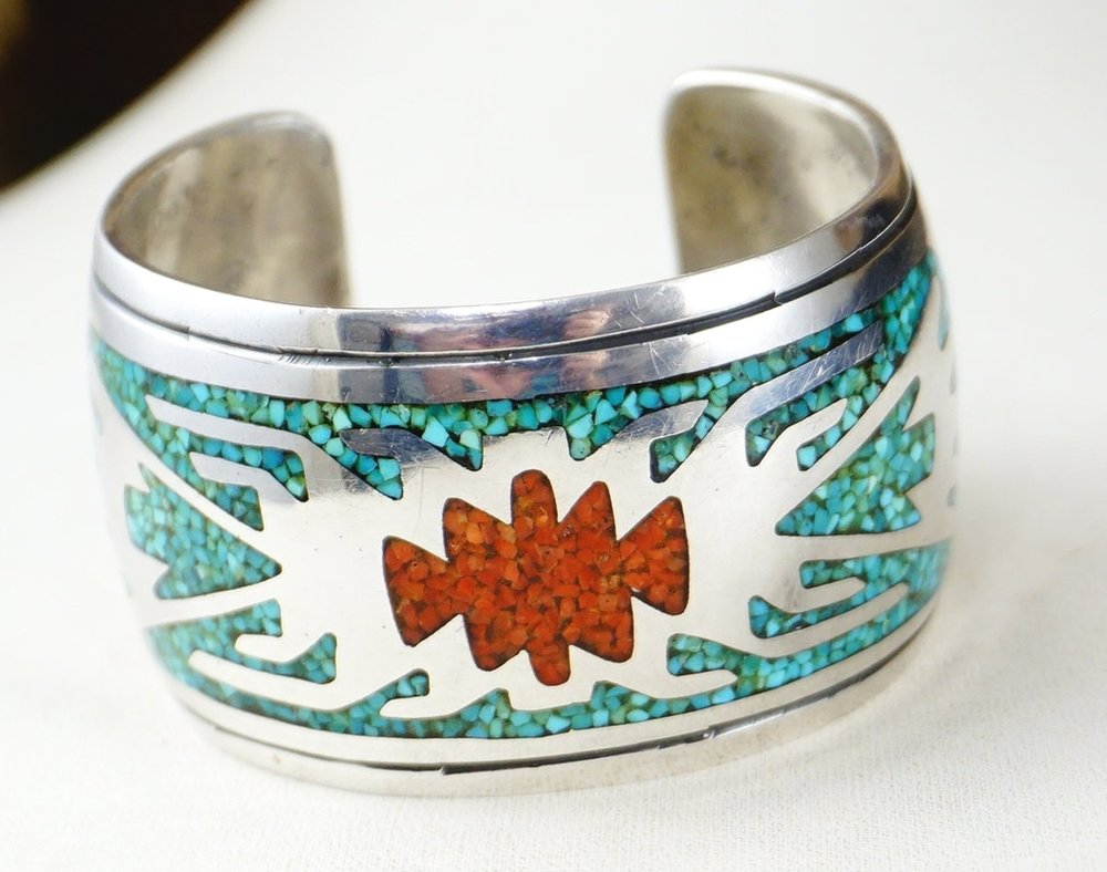 Vintage Navajo Sterling Silver Turquoise /& Coral Clip Earrings