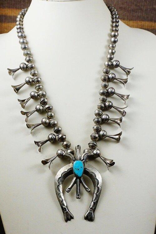 Vintage Navajo Turquoise Naja Sterling Silver Pendent MensWomens