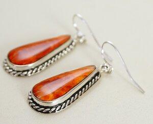 Large Dangle Drop Earrings Southwestern Native American Silver Spiny Oyster Earrings Running Bear Sterling Silver Spiny Oyster Earrings