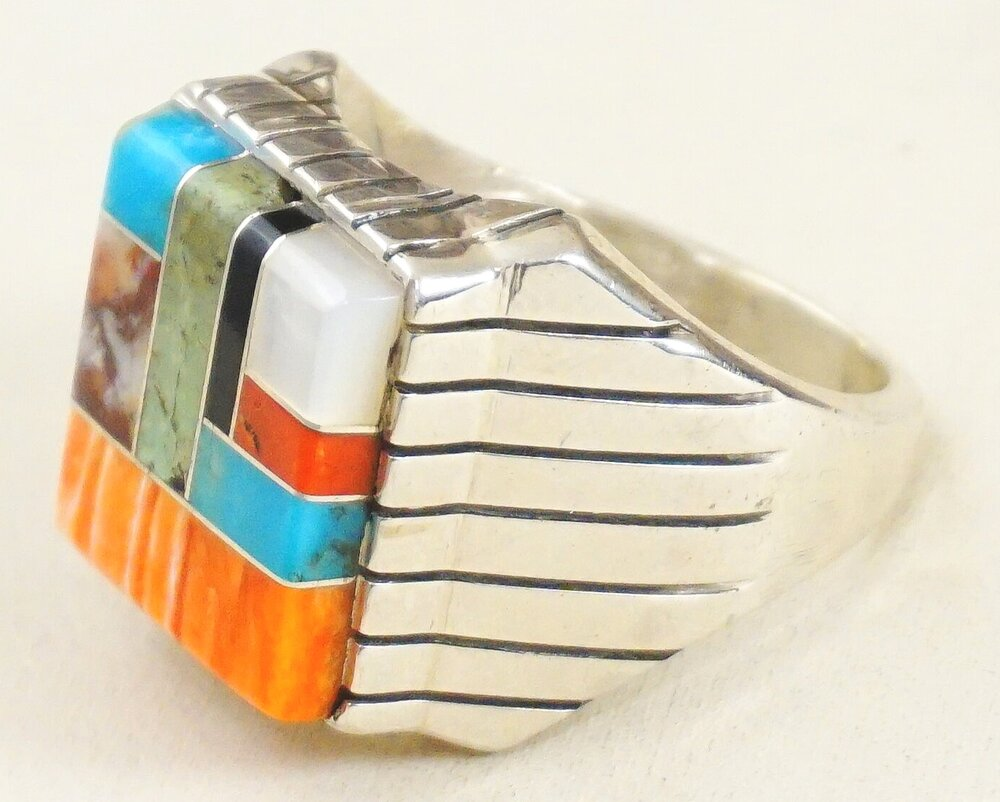 Multi stone inlay ring native American artist ray jack signed