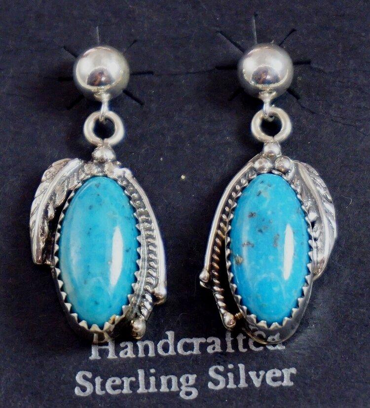 Southwestern Roadrunner Bird Feather Kingman turquoise sterling silver dangle earrings