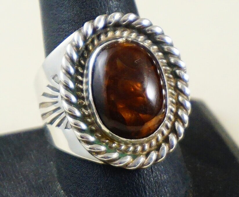 Vintage Brown Fire Agate Sterling Silver Ring Size 7 12 Signed R Southwestern