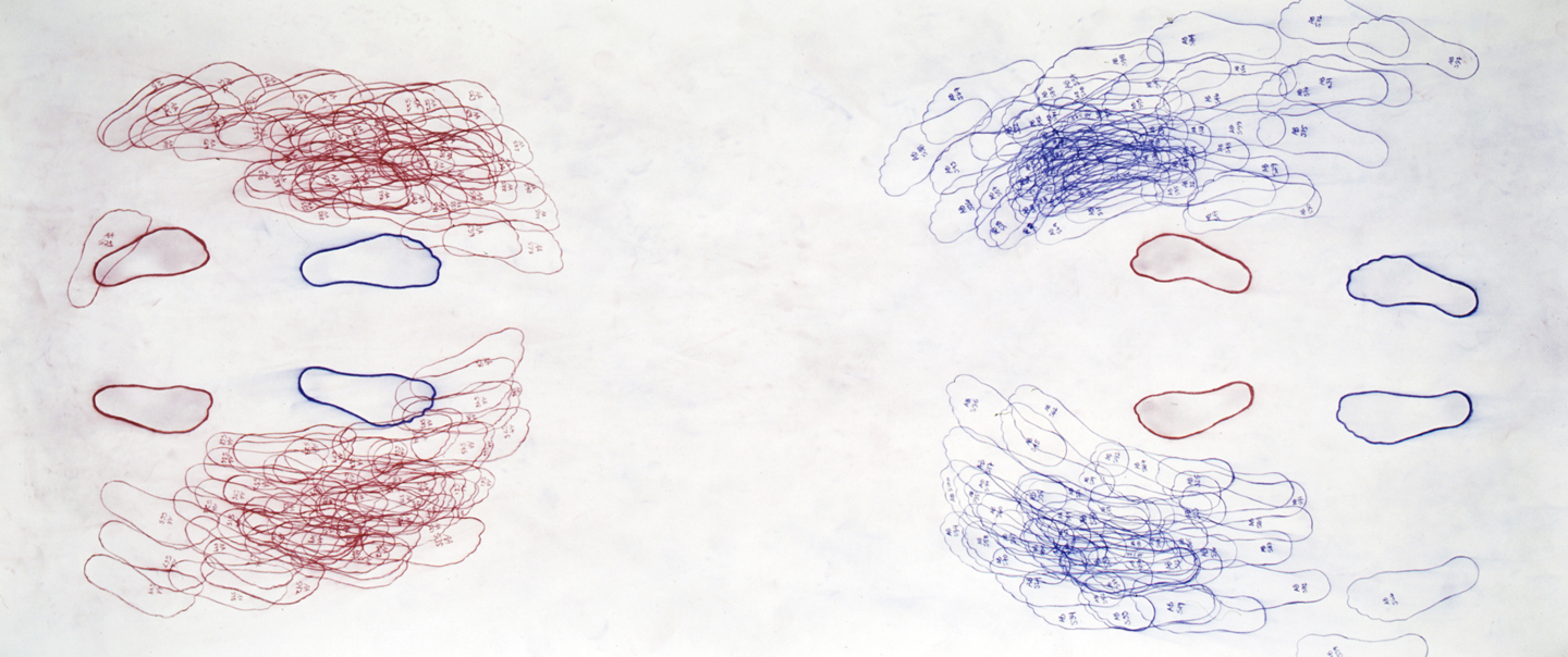 """Push AA<—>AB/100 (c) (nl) color crayon on paper60""""x140""""2004"""