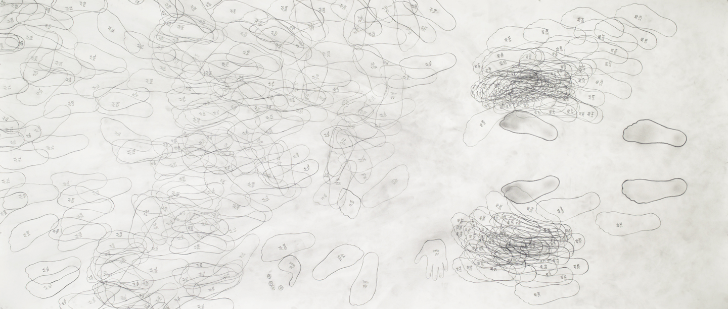 "Push AA < AB/100 graphite on paper 60""x140"" 2004"