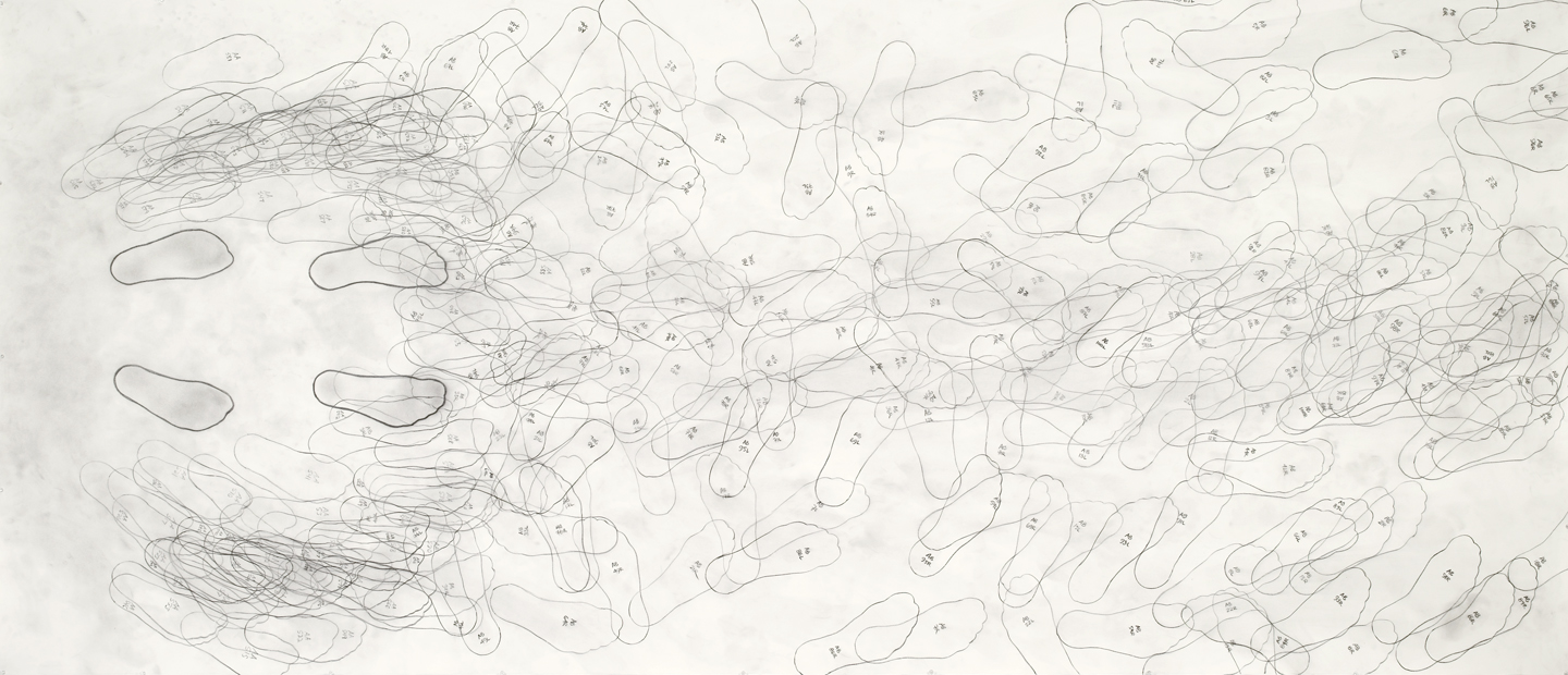 "Push AA > AB/100 graphite on paper 60""x140"" 2004"