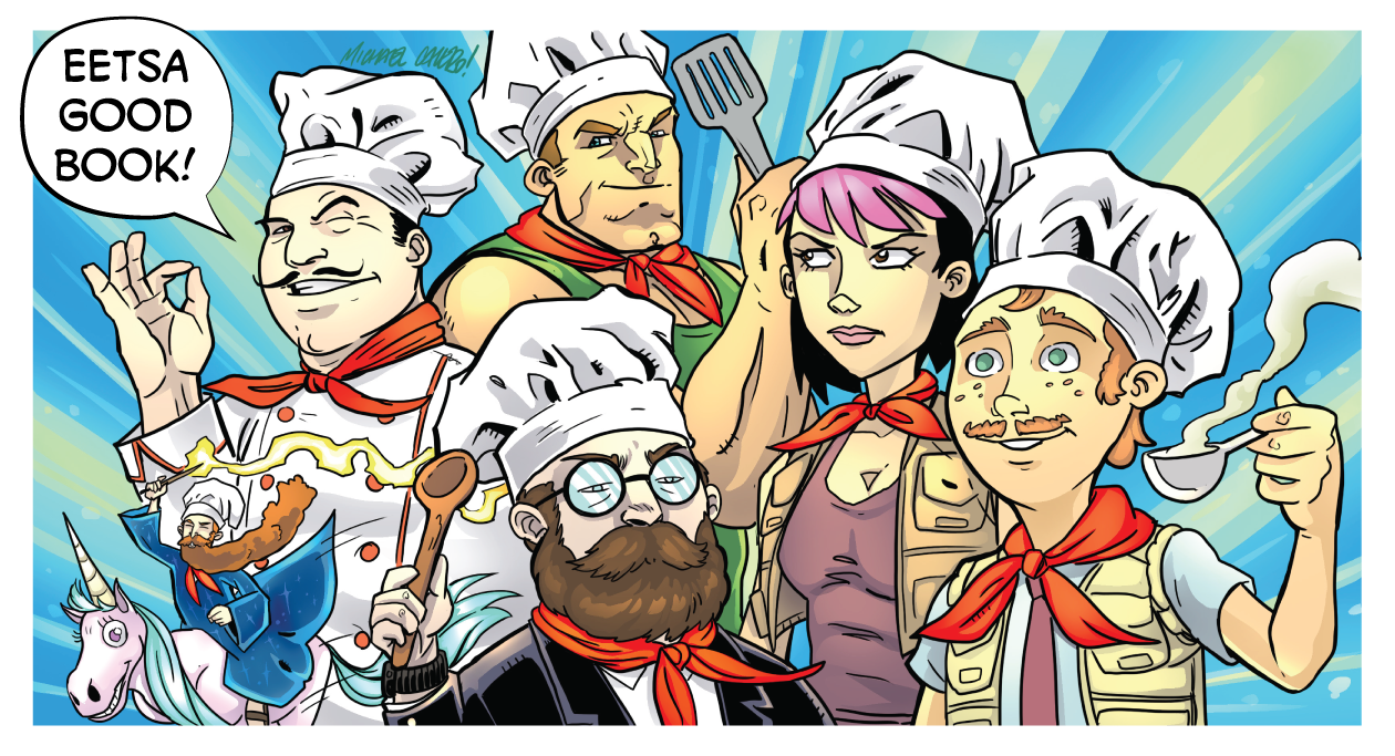 The Starburns Industries Chef is joined by characters from B-Squad, Tiny Wizards, and Monster Safari. Illustration by Michael Calero
