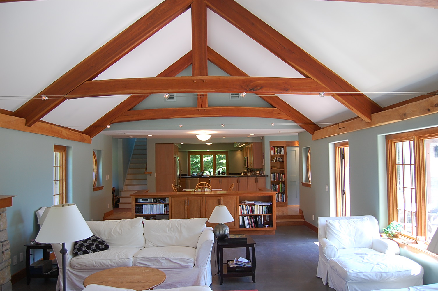 custom timber frame great room 1