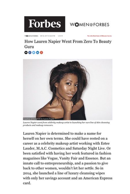 Lauren Napier for Forbes and Women @ Forbes. Napier shares her startup story, female , minority ,small business and entrepreneurship