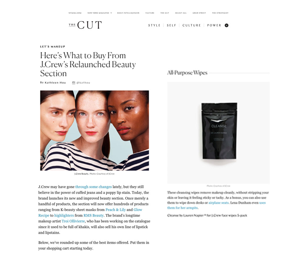 LAUREN NAPIER BEAUTY AVAILABLE AT JCREW BEAUTY NY MAG , THE CUT