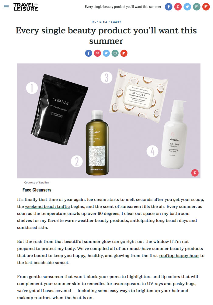 CLEANSE by Lauren Napier , Travel and Leisure , Summer Beauty,