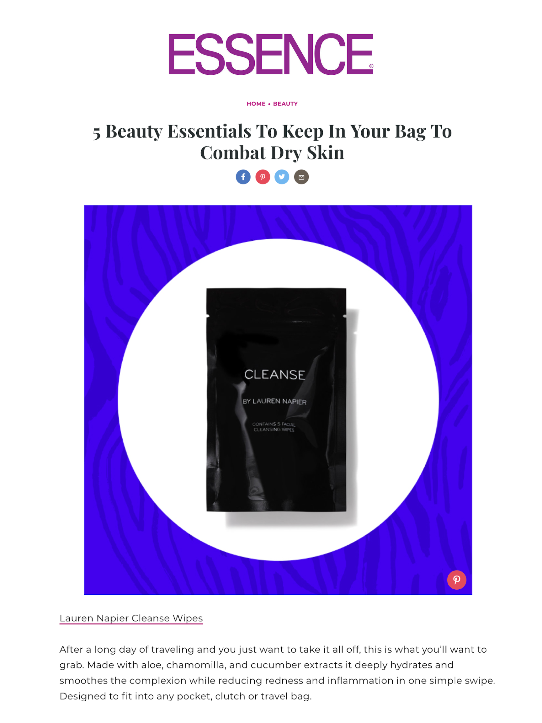 Lauren Napier Beauty, CLEANSE by LAUREN NAPIER ESSENCE MAGAZINE